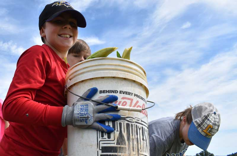 kids volunteering with Farm to Food Bank program