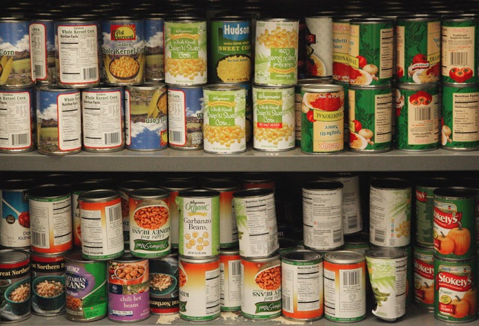 canned goods at a school pantry