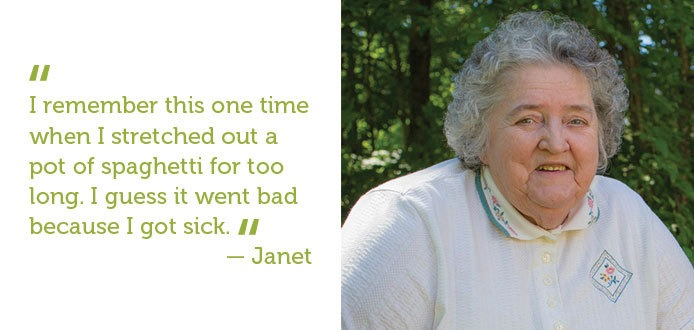 I remember this one time when I stretched out a pot of spaghetti for too long- Janet