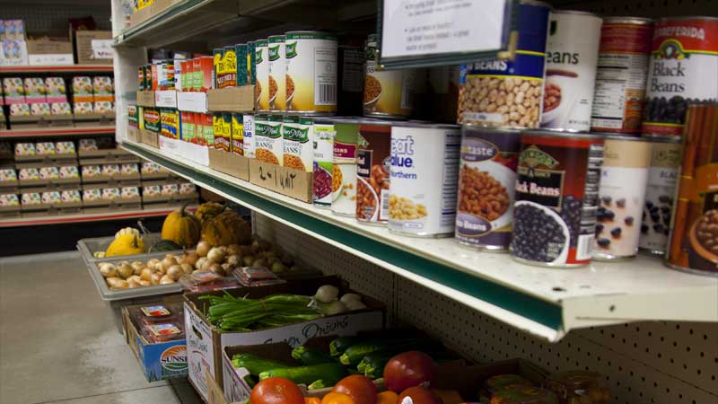 food on shelving