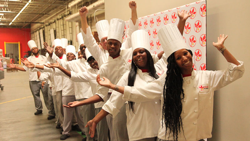 FoodWorks students lined up for graduation ceremony