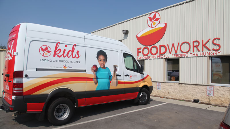 MFB Kids van parked at FoodWorks