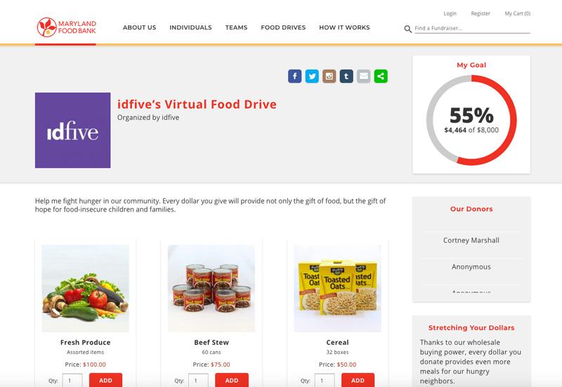 idfive's virtual food drive on Fenly