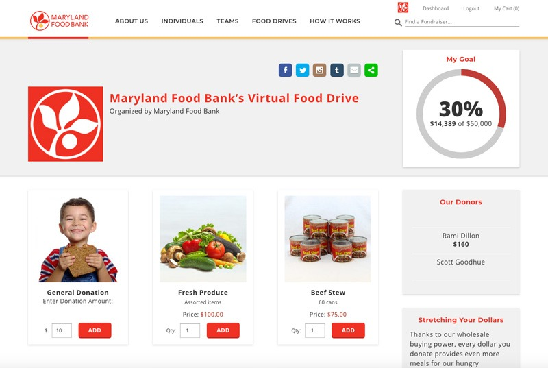 Maryland Food Bank Fenly virtual food drive