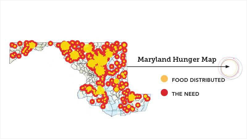 Maryland Hunger Map - food distributed and the need