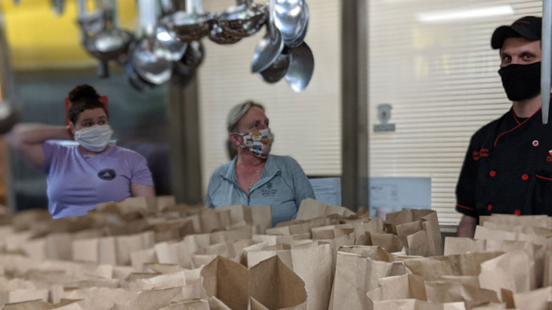 Grab and Go Meals being put together in Maryland Food Bank kitchen