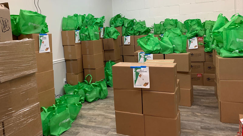 packed food boxes and bags at BACHS