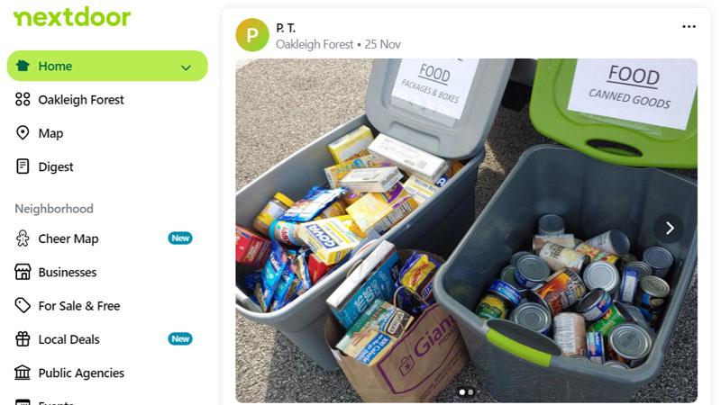 Nextdoor food donation post