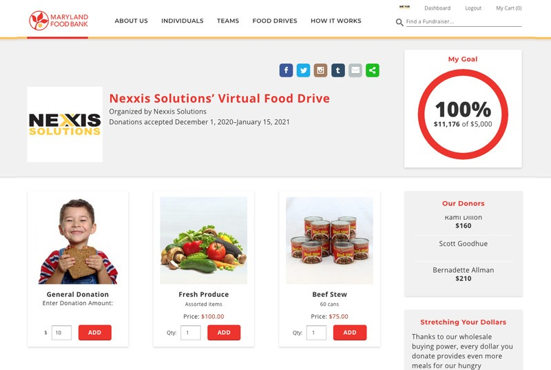Nexxis Solutions Fenly virtual food drive fundraiser