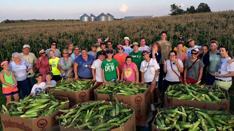 Farm To Food Bank volunteers showing off their corn harvest