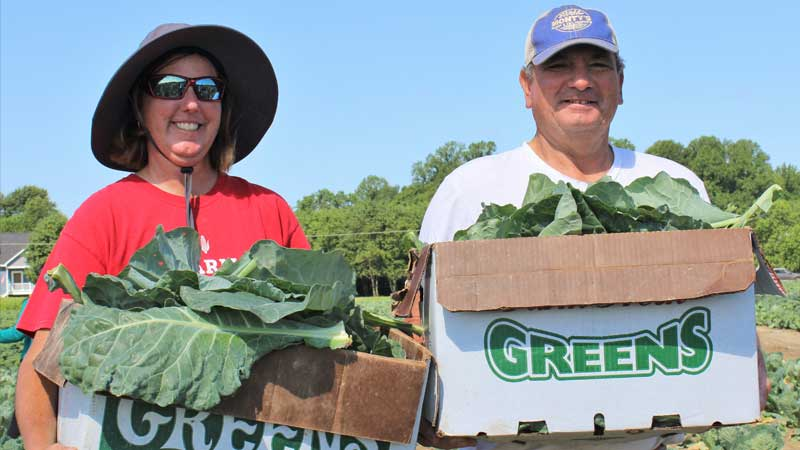 Amy Cawley and man holding boxes of collard greens